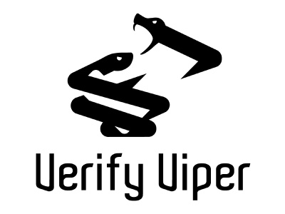 2 Vipers Coiled checkmark verify authenticate viper snake 2 heads identity logo