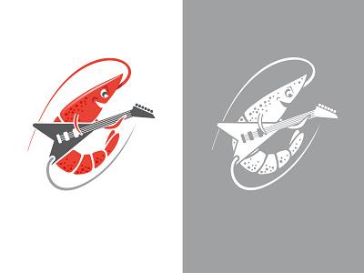 Rock Shrimp metal music guitar google chicago charicature cartoon rock shrimp rock shrimp branding logo