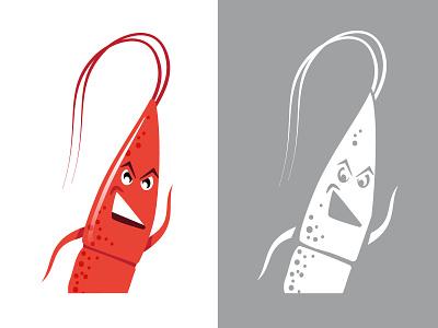 Sherwin the Shrimp cartoon charicature chicago rock shrimp angry shrimp branding logo