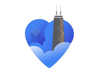 I Heart Chicago illustraion skyscrapper hancock building heart chicago branding logo
