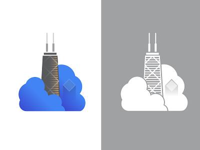 Hancock Building skyscrapper google clouds chicago branding logo