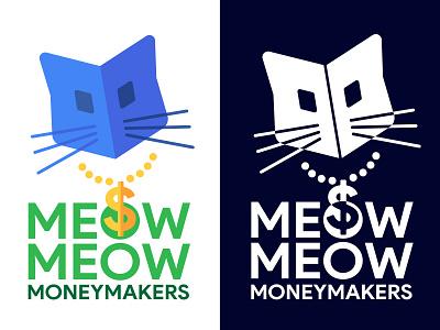 Gangsta Cat money dollar branding meow symbol logo gangsta gold chain whiskers feline
