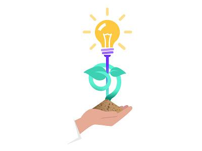 DocSend: Nurturing Ideas nurturing product idea shine earth mound soil hand ideas growing docsend sapling lightbulb illustration bulb