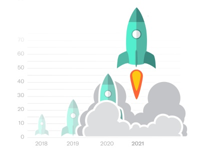 DocSend: Product Launch smoke lift off take off lauch blast off fundraising graph chart rocket illustration