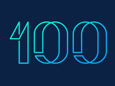 Number exploration: outline neon outline century logo 100 hundred numbers