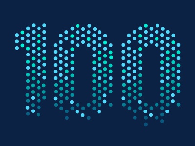 Number exploration: dots one hundred numbers gradient digits digital college anniversary data hundred 100 dots logo