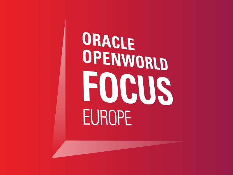 Oow Focus logo: 3D typography technology emerging tech oracle logo