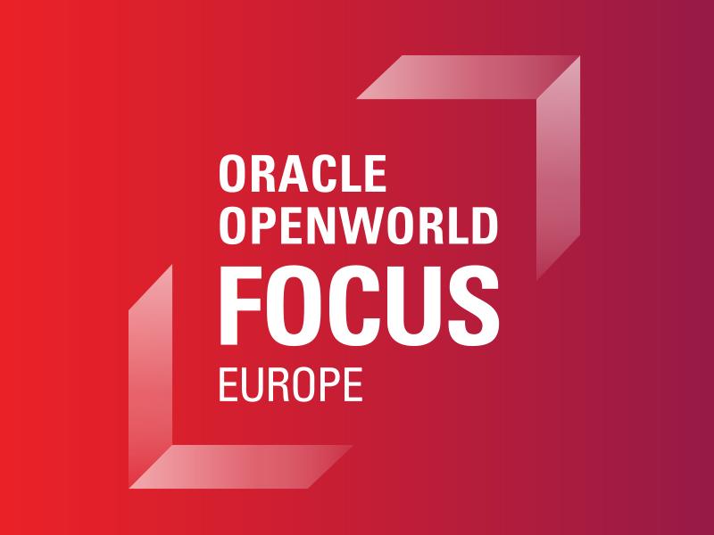OOW Focus logo: Brackets typography oracle emerging tech branding logo