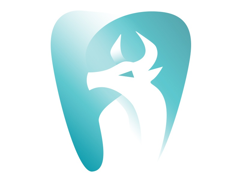 Dr Bullard DDS (negative space) dentist logo dentistry horns negative space bull dental practice dental tooth dentist