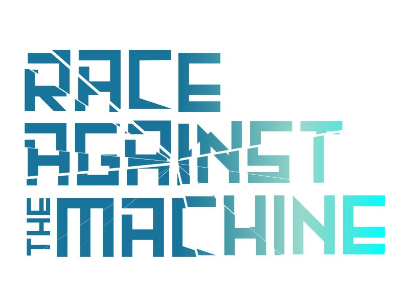 Race Against The Machine: Dystopia crisis dystopia a.i. emerging tech branding logo