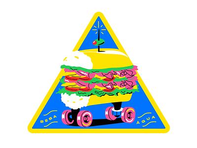 Ham Tomato Cheese Lettuce bread blue yellow patch skate sandwich