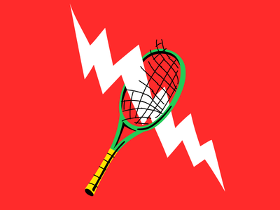 Electricity bat red bolt electric tennis