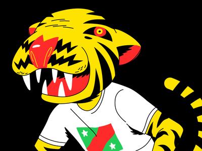 Tigor Tiger digital vector illustration shirt yellow rad bike tiger