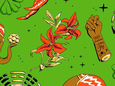 Lucky Charms pattern shirt brazil football futebol soccer cup world golden flower