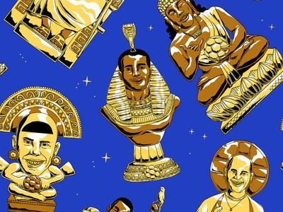 Golden Idols gods pattern brazil football futebol soccer cup world golden romario ronaldinho ronaldo