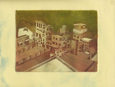 City Scene Aquatint