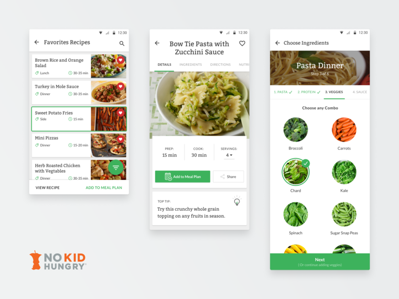 No Kid Hungry Interface ux enterprise savvy apps savvy nkh android app design ingredients experience dinner food recipes cooking matters no kid hungry android app android identity design branding apps app
