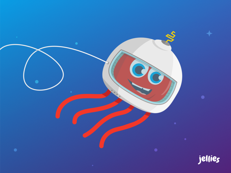 Jellies Mascot - Meet Sam video video app kids app explorer explore red jellyfish kids kid mascot logo mascot logo illustration savvy apps savvy identity design branding apps app