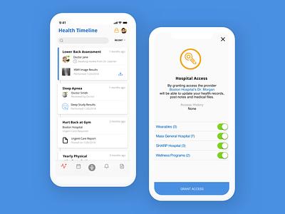 Medical App - Health Timeline health blockchain mobile healthcare medical