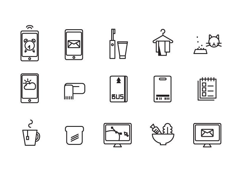 everyday 1/2 daily simple life icons
