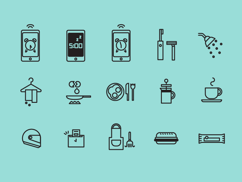 daily icons, dude version icons geometric daily dude snooze