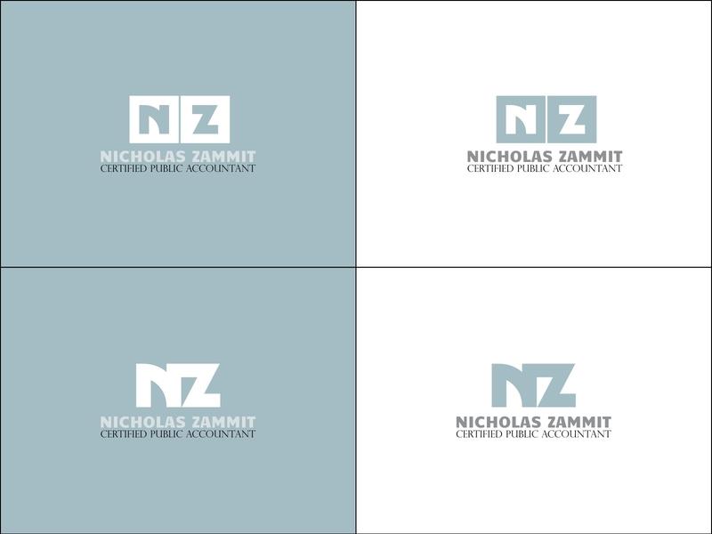 Nicholas Zammit nz monogram accountant accounting cpa professional logo professional gray logodesign logo