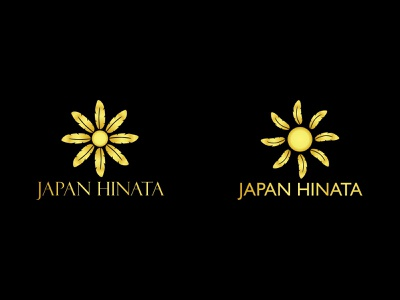 Japan Hinata (Hotel Chain Brand) gold design logodesign logo feathers yellow sun feather hinata japan