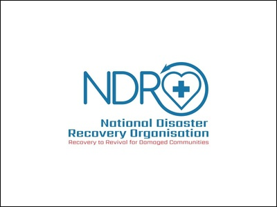 NDRO Brand design logodesign logo red blue disaster organization recovery charity