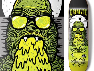 Creature From The St. Johns River Skateboard creature skateboard 80s halftonedef florida illustration halftone def