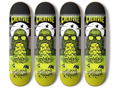 Creature From The St. Johns River Skateboard creature skateboard 80s halftonedef florida illustration halftone def