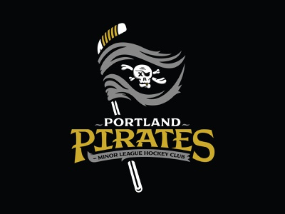 Portland Pirates - Minor League Hockey Club - Logo Suite lowdrag font pirates skull minor league hockey design halftone def studios illustration halftone def
