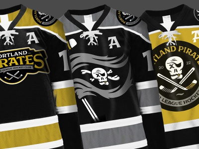 Portland Pirates - Minor League Hockey Club - Jerseys jerseys puck skull hockey minor league portland pirats halftonedef illustration halftone def
