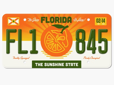 Freshly Squeezed Florida License Plate halftone def florida state plates project oranges juice fl
