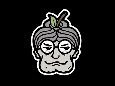 Bad Granny Hard Cider Branding - Apple Head Icon halftone def studios packaging branding beer cider bad granny