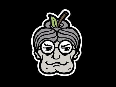 Bad Granny Hard Cider Branding - Apple Head Icon halftone def studios packaging branding beer cider bad granny