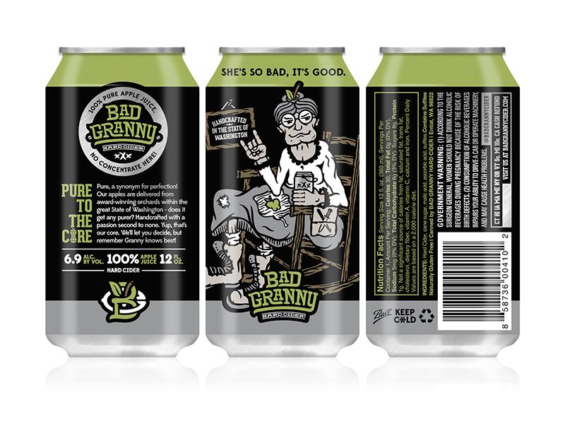 Bad Granny Hard Cider - 12oz Can Design halftone def studios packaging 12oz can branding beer cider bad granny