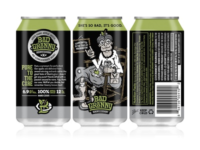 Bad Granny Hard Cider - 12oz Can Design halftone def studios packaging 12oz can branding beer cider bad granny