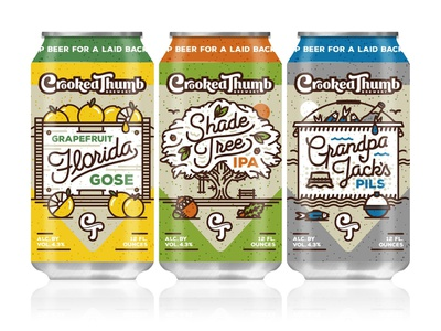 Crooked Thumb Brewery Can Release monoline beer florida design craft brew cans crooked thumb brewery