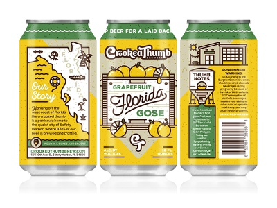 Crooked Thumb Brewery - Florida Grapefruit Gose grapefruit gose florida can design illustration craft beer crooked thumb brewery halftonedef