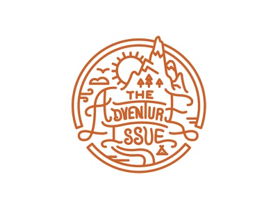 5280 Magazine Adventure Issue Stamp Icons halftonedef 5280 magazine illustration editorial florida colorado monoline type mountains badge icon
