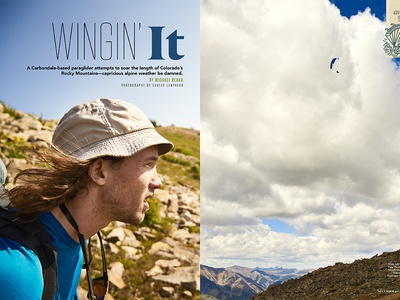 5280 Magazine Adventure Issue Paraglider Icon halftonedef 5280 magazine illustration editorial florida colorado monoline type mountains badge icon