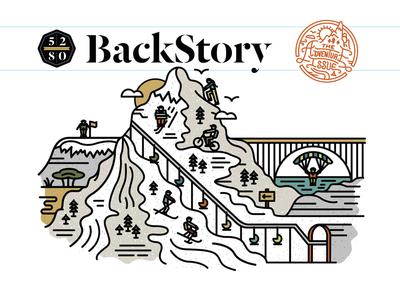 5280 Magazine Adventure Issue BackStory Illustration icon badge mountains type monoline colorado florida editorial illustration 5280 magazine halftonedef