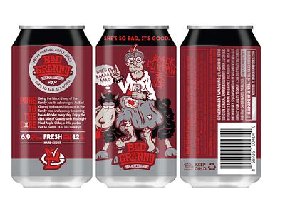 Bad Granny Black Currant Hard Cider cans black currant washington state rebrand logo design illustration hard cider bad granny halftonedef