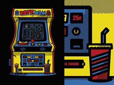 Less Than Jake Dopeman Gigposter Jacksonville 80s jacksonville retro illustration arcade screenprint gigposter less than jake halftone def