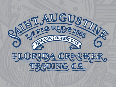 Hand Lettered Type Treatment Elements saint augustine tshirt design hand lettering florida halftone def