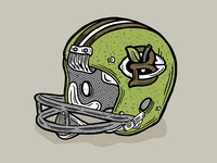 Vintage Football Helmet Illustration