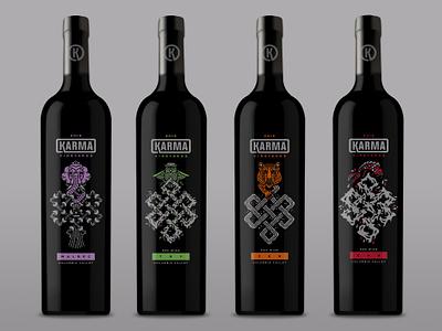 Karma Vineyards Eternal Knot Printed Wine Bottles karma vineyards wine packaging design monoline illustration halftone def