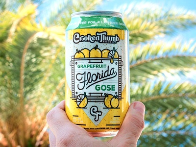 Crooked Thumb Brewery - Product Shots gose lager ipa package design beer monoline florida illustration halftone def