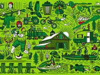 Alabama Label Illustration Vintage Collage halftone def studios packaging vintage illustration label alabama