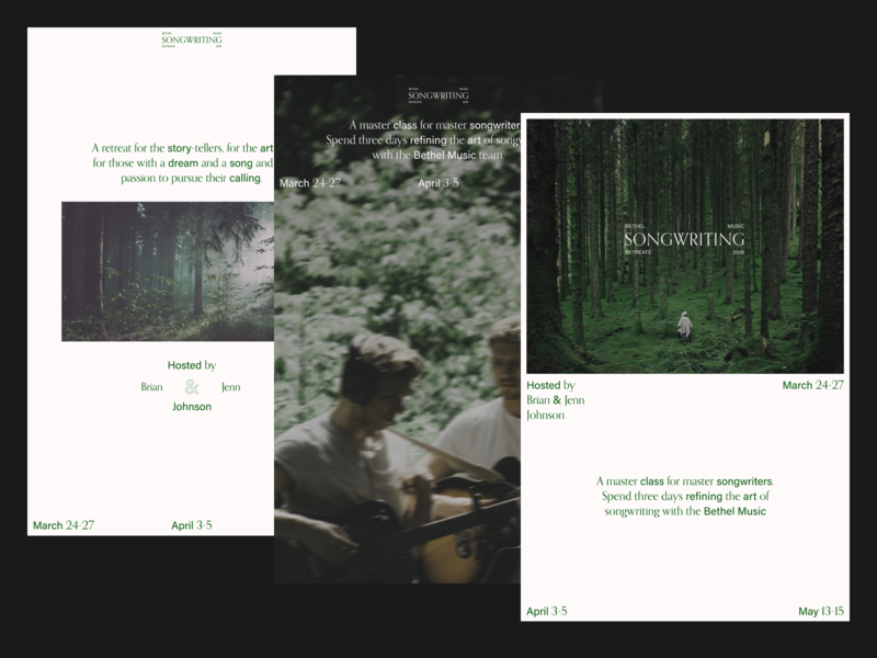 Bethel Music Retreats - Songwriting Posters design bethel acumin type orpheus white green posters poster songwriting retreat bethel music